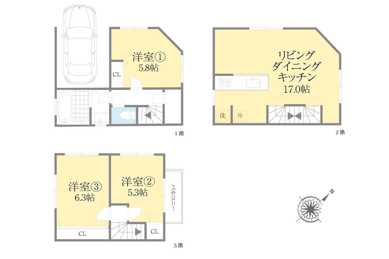 【参考プラン】北東×北西の角地の為、全居室が道路に面した間取が可能です