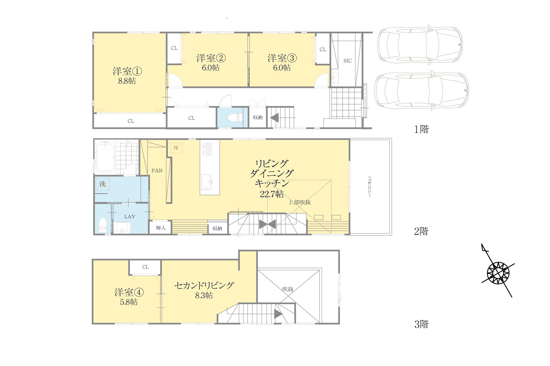 中里3丁目 建物プラン例建物面積159.74㎡ 建物価格4,300万円