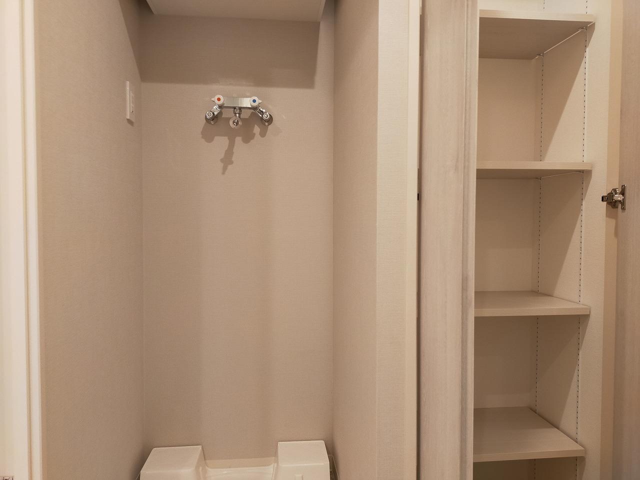 浴室前の室内洗濯機置き場と収納棚