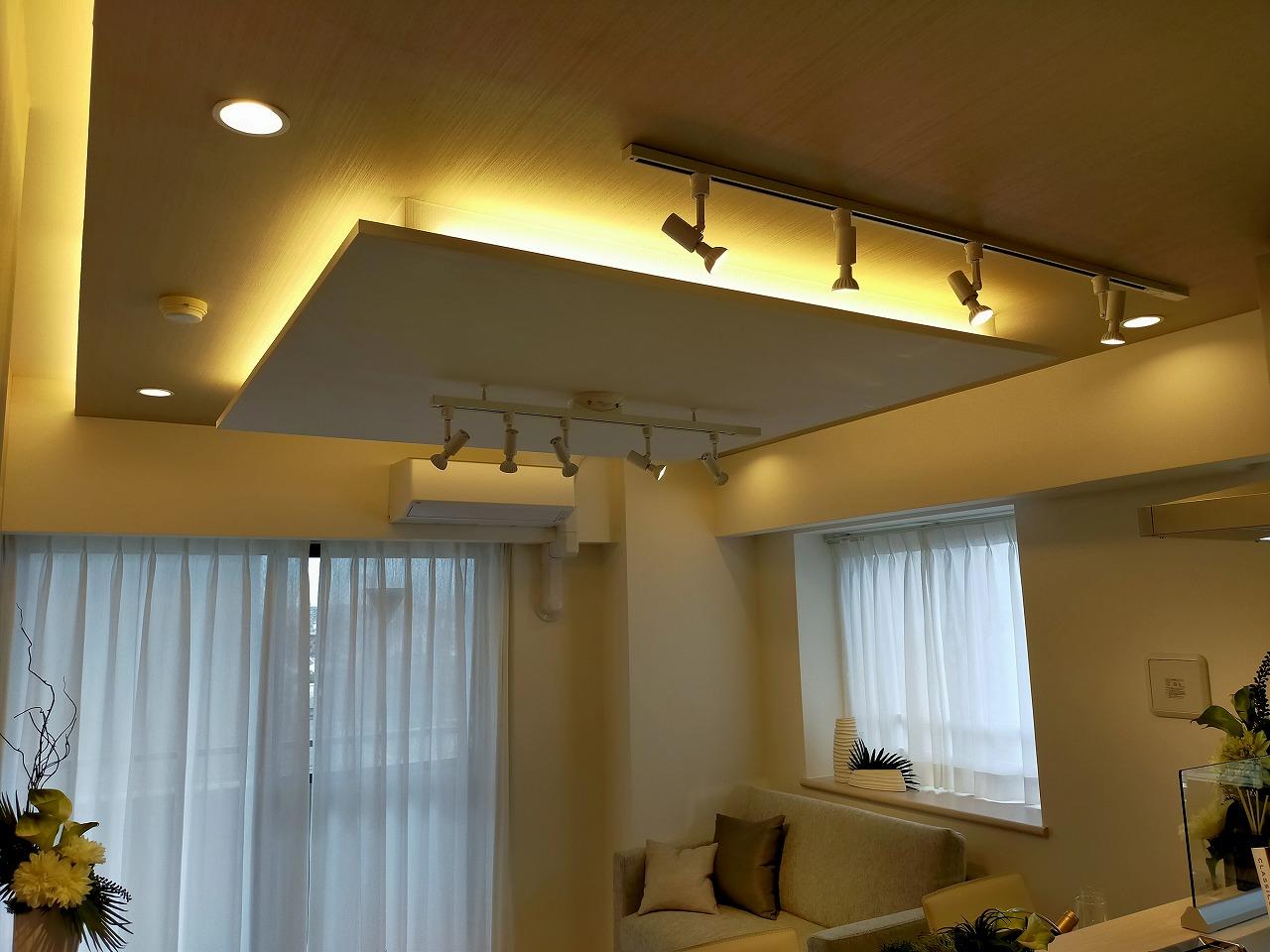 リビングの天井にはおしゃれなダウンライト設置