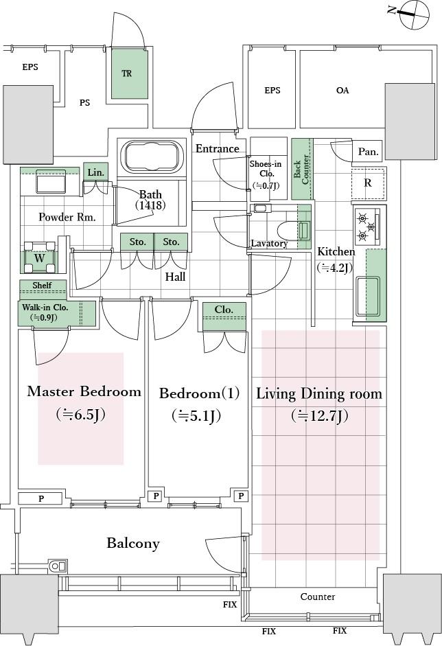 トランクルームを備えた機能的な2LDKです。