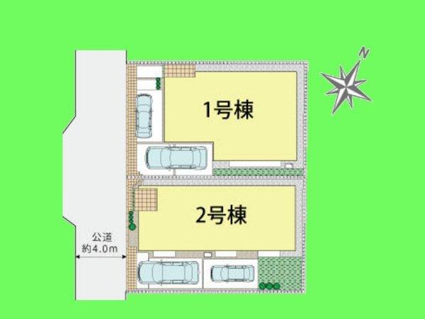 【区画図】カースペースは2台分(車種による)
