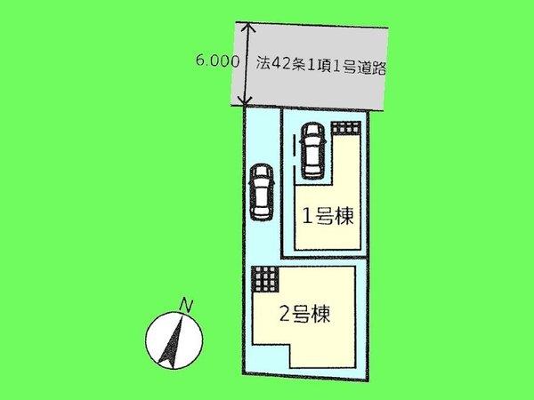 【区画図】ビルトインガレージ1台分(車種による)