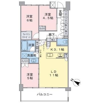 2階部分、南西向きの3LDKです。