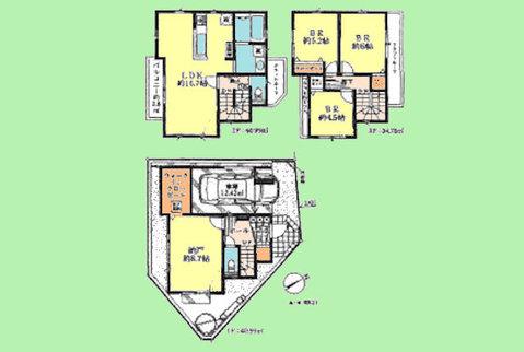 3SLDK 土地面積73.62平米、建物面積116.76平米