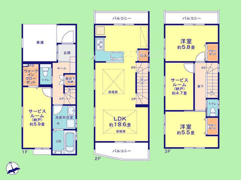2LDK+2サービスルーム 土地面積64.49平米、建物面積103.85平米