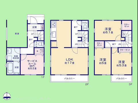 3SLDK 土地面積61.40平米、建物面積105.90平米