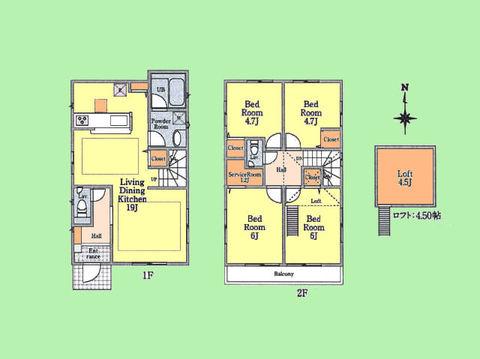 4LDK 土地面積118.25平米 建物面積93.15平米