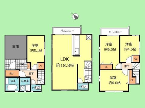 4LDK 土地面積59.76平米、建物面積106.29平米