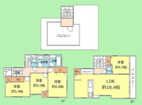 4LDK+スカイバルコニー 土地面積100.20平米、建物面積100.09平米