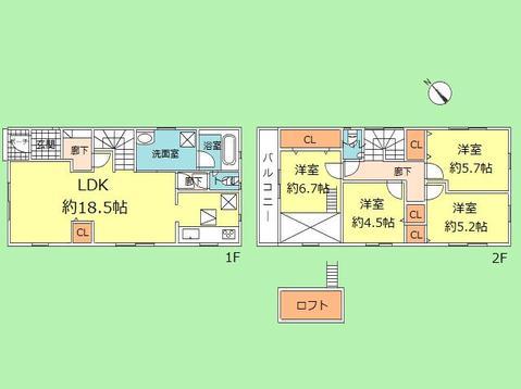4LDK 建物面積96.79平米 土地面積125.04平米
