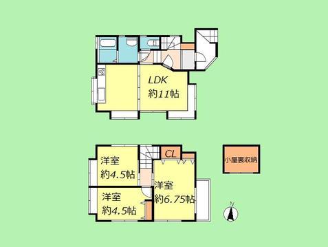 3LDK 建物面積60.34平米 土地面積53.14平米