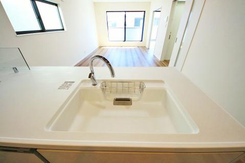 浄水機が内蔵されている便利なシャワー水栓タイプのシンクです