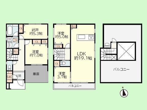 3SLDK 建物面積113.26平米 土地面積91.78平米