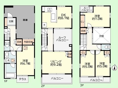 4LDK 建物面積124.83平米 土地面積88.21平米