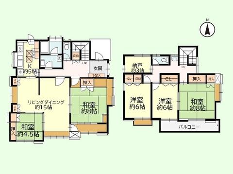 5SLDK 土地面積227.16平米、建物面積140.4平米