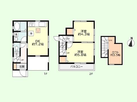 2DK+ロフト 土地面積56.90平米、建物面積52.54平米