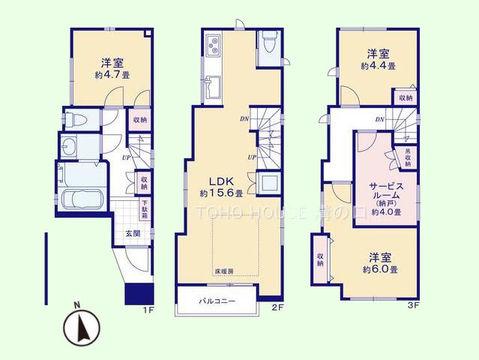3SLDK 土地面積62.12平米、建物面積91.6平米