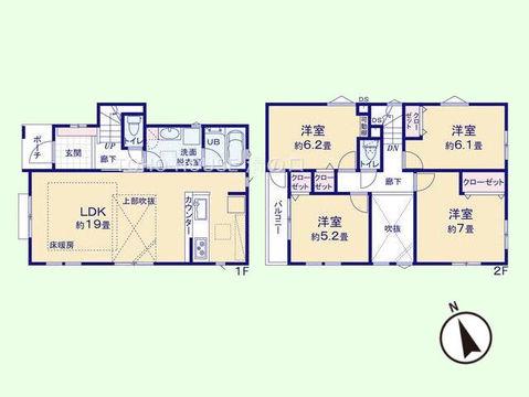 4LDK 土地面積126.02平米、建物面積97.6平米