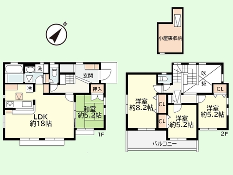 4LDK+小屋裏収納 土地面積166.64平米、建物面積103.50平米