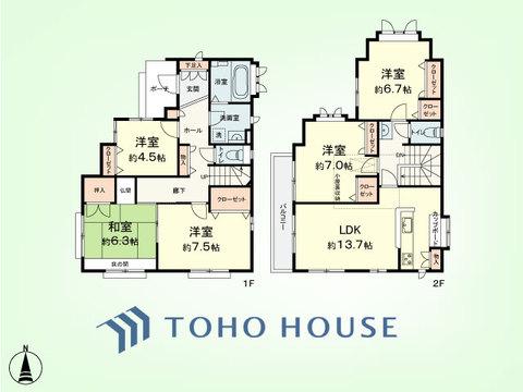 5LDK+小屋根裏収納 土地面積105.78平米、建物面積118.04平米