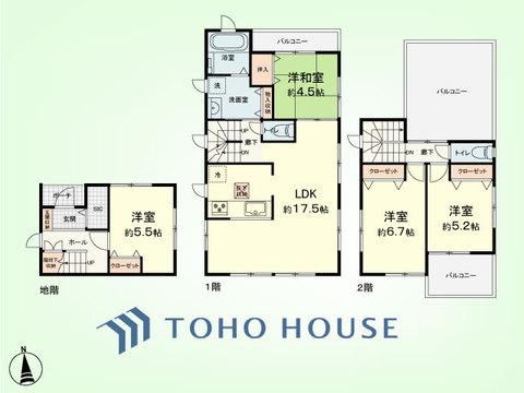 4LDK 土地面積140.23平米、建物面積98.54平米