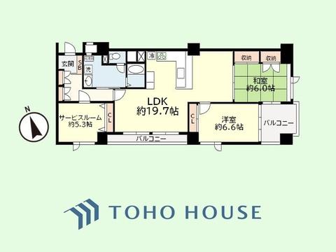 3LDK 専有面積88.30平米 バルコニー面積9.83平米