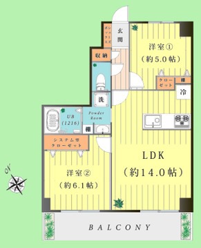 2LDK 専有面積56.12平米 バルコニー面積8.19平米
