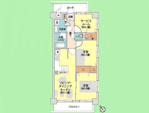 2SLDK 専有面積60.5平米、バルコニー面積6.93平米