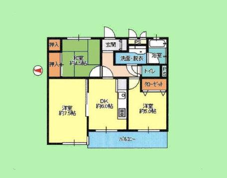 3DK 専有面積54.94平米、バルコニー面積5.82平米