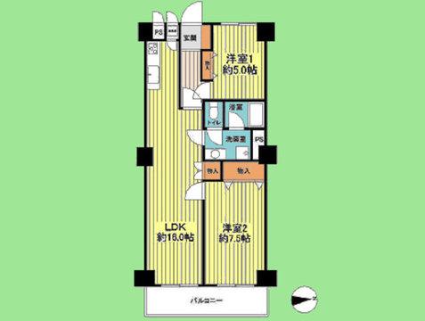 2LDK 専有面積66.00平米、バルコニー面積7.42平米