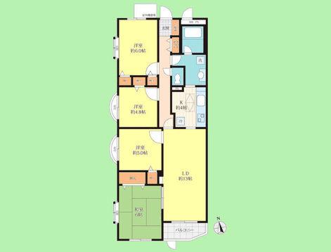4LDK 専有面積85.32平米、バルコニー面積3.55平米
