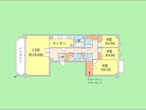 3LDK 専有面積116.40平米 バルコニー面積12.01平米