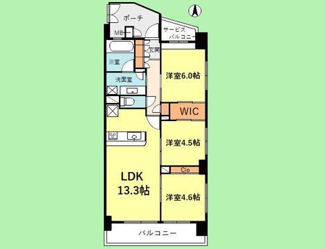 3LDK 専有面積66平米 バルコニー面積12平米