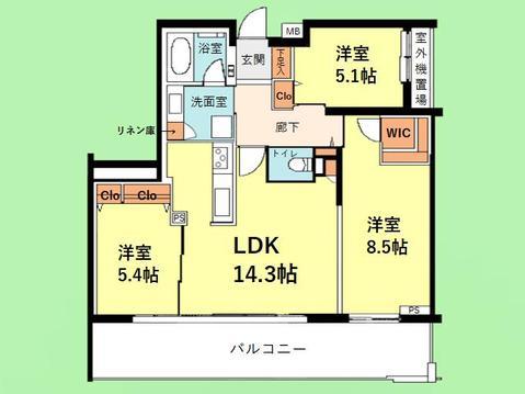 3LDK 専有面積75.13平米 バルコニー面積19.46平米