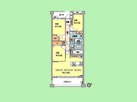 3LDK 専有面積80.67平米 バルコニー面積13.2平米