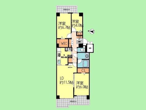 3LDK 専有面積76.07平米、バルコニー面積8.55平米
