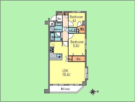 2LDK 専有面積62.61平米、バルコニー面積5.95平米