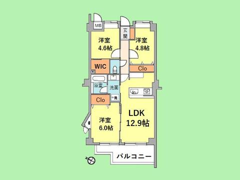3LDK 専有面積64.69平米、バルコニー面積8.46平米