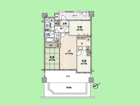 3LDK 専有面積67.62平米 専用庭+テラス面積35.14平米