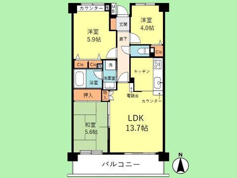 3LDK 専有面積64.09平米、バルコニー面積9.45平米