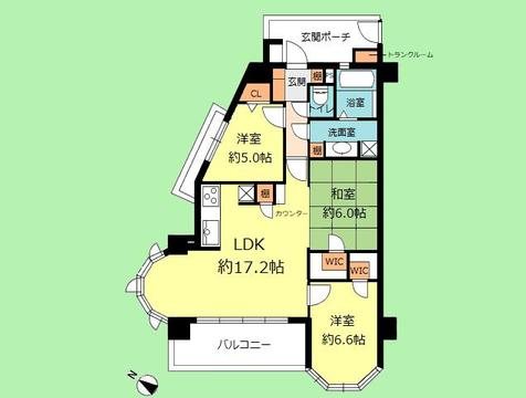 3LDK 専有面積77.24平米、バルコニー面積9.36平米