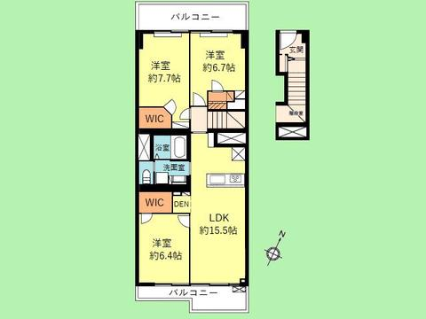 3LDK 専有面積86.11平米 バルコニー面積15.72平米