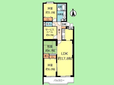 3SLDK 専有面積80.42平米、バルコニー面積8.31平米