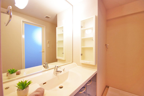 大きな洗面鏡付き!朝の身支度も楽しくなりますね