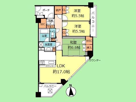 3SLDK 専有面積81.23平米、バルコニー面積10.23平米