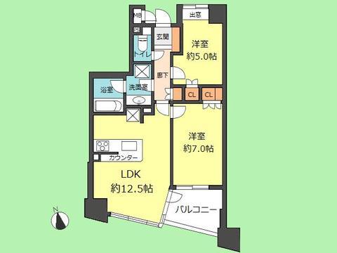 2LDK 専有面積54.71平米、バルコニー面積6.34平米