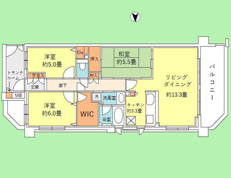 3LDK 専有面積76.20平米、バルコニー面積14.1平米