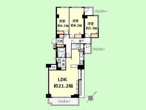3LDK 専有面積95.58平米、バルコニー面積10.41平米