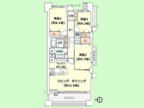 3LDK 専有面積70.46平米、バルコニー面積10.98平米